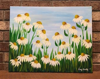 Daisy Painting, Daisies, Flower Painting, Spring Painting, Spring Flower Painting, Acrylic Painting, Easter Gift, White Daisies,Yellow Daisy