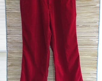 Vintage 1970s Hippy Boot Cut Red Corduroy Indie Pants Men's size 30 inseam 27