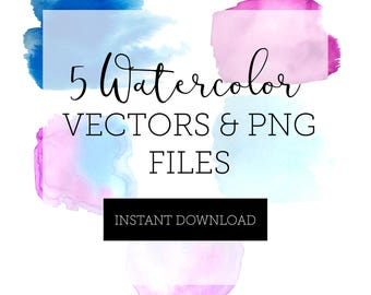 Watercolor Backgrounds VECTOR + PNG FILES - Instant Download // Blues, Purples, Pinks