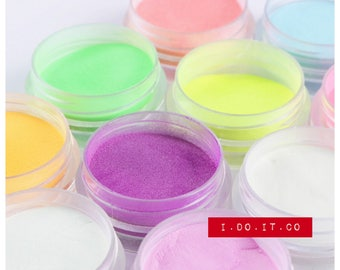 Nail Art 10 Colors Neon Colors Phosphorescent FLUORESCENT Powder Glow In Dark Nail Art Acrylic Use