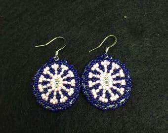 Beaded Earrings (pink/blue)