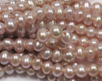 6-7 mm Natural Pink Potato Large Hole Freshwater Pearl Beads 1.8mm Hole, Large Hole Light Pink Freshwater Pearls, Pink Pearl (11-LHPPK0607)