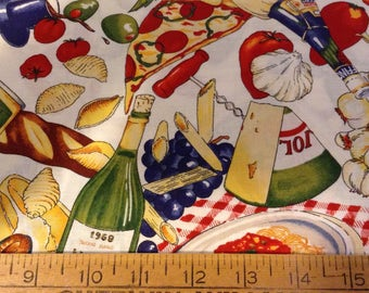 Pasta and pizza cotton fabric by the yard
