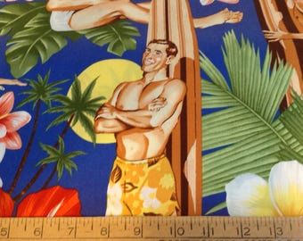 Beach boys cotton fabric by the yard