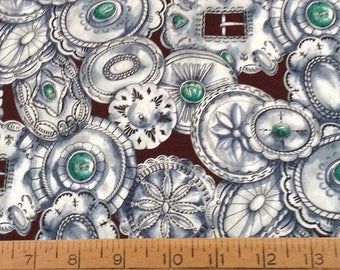 Silver conchos cotton fabric by the yard