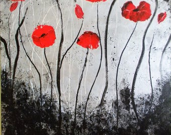 Poppies dance in the wind of Italy  original acrylic painting