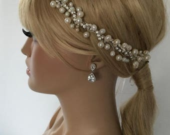 EXPRESS SHIPPING Ivory pearl and rhinestones headband, bridal headband, headpiece, wedding hairband
