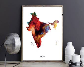 India Artwork India Wall Art India Wall Decor India Photo India Print India Poster India Map India Country Map India Watercolor Map Unframed