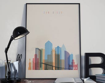 San Diego Art San Diego Watercolor San Diego Wall Art San Diego Wall Decor San Diego Skyline San Diego Home Decor San Diego Multicolor Print