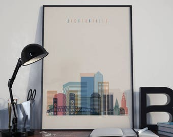 Jacksonville Art Watercolor Jacksonville Skyline Wall Art Jacksonville Poster Multicolor Jacksonville Print Wall Decor Jacksonville Photo