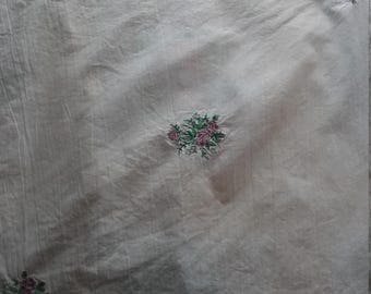 Embroidered Rose Flour Sack Towel
