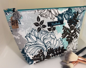 Large Deep Zipper Pouch, Cosmetic Bag, Make up Bag, Large Makeup Bag, Toiletry Bag, Travel Bag, Australian Made, Teal, Silver, White Floral.
