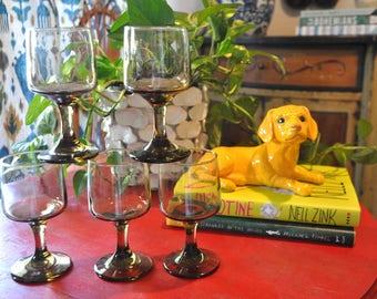 Vintage Smokey Glass, Black, Gray, Charcoal Wine Glasses, Goblets, Stemware
