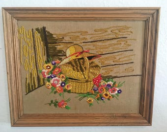 Vintage Crewel, Flowers in a Basket + Gardening Hat // SALE