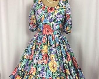 Vintage Rockabilly Square Dance Breezy Floral Full Skirt Swing Dress. 8