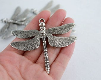 Solid Large Silver Plated Charm Pendant/ Silver/Large Charm / Dragonfly of 64 x 73 mm pack 4 pcs