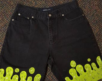 Hand Painted High Waisted Slime Shorts