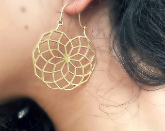 Hoops,Sacred Geometric earrings,Mandala earrings,Boho Earrings,Tribal Earrings, Bohemian Earrings,Gypsy Earrings,ethnic earrings,ear hoop