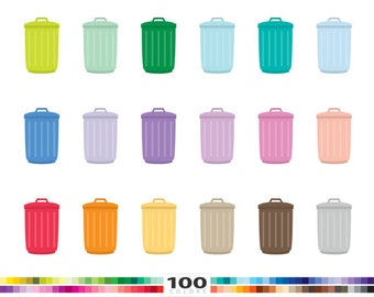 Trash Cans clipart 100 rainbow colors garbage container recycling png illustration planner stickers clip art set