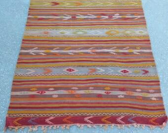 "TURKİSH RUG,Oushak Rug,Vintage Rug,Turkish Kelim,Handmade Rug,Home Living,Oushak Rugs,Anatolian Rug,Old Rug,5'3"" X 3'6"" feet, 163 X 111 cm"