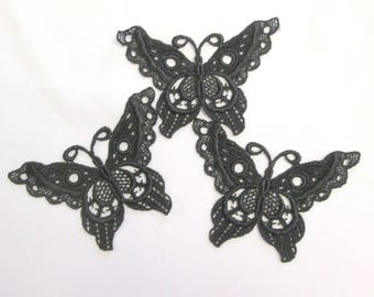 Black Venice lace butterfly appliques boho trim steampunk trim large butterfly motif set of 3