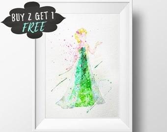 Disney Princess Art, Elsa Frozen Fever Art Print Poster Wall Art Nursery Decor Printable Watercolor Download, Baby Shower Favor Pink Nursery