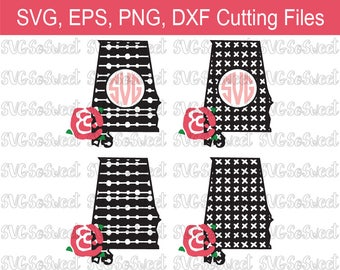 Alabama, State Monogram, AL State Design, AL State Outline, Roll Tide, SVG, Png, Eps, Dxf, Silhouette, Cutting Files
