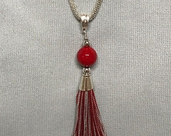 Team Tassel Red & Gray Pendant Necklace