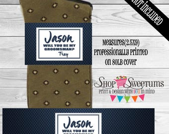 Navy Carbon Groomsmen sock labels, best man sock gift