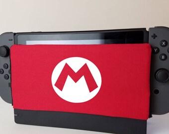 Nintendo Switch Red Mario Themed Dock Sock Cozy Microfiber Protector