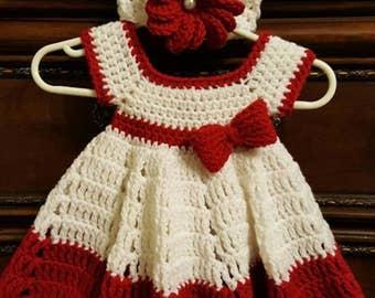Newborn crotchet dress w/headband