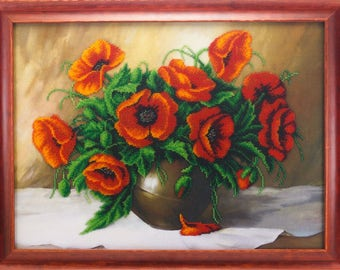 Beaded picture Glowing Poppies vase red flower bouquet decor gift beadwork embroidery bead art elegant interior design bead-embroidered