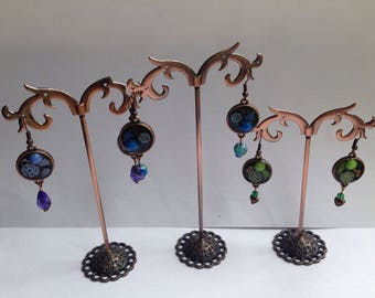 Copper hand made earrings with purple and blue glass and millefiore