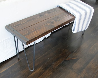 Rustic Bench with hairpin legs ,Industrial Bench, Reclaimed Wood Bench with hairpin legs