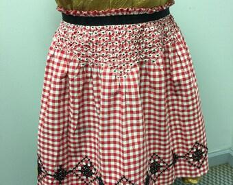 Vintage Handmade Red Gingham Apron