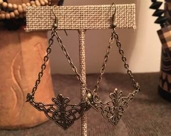 Antique Gold Chain Filigree Dangle