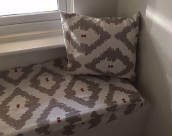Window seat cushion and matching cushion