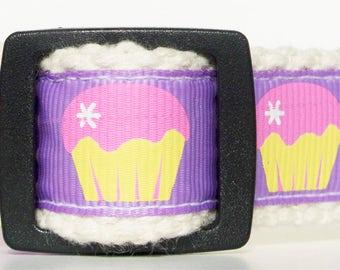Purple Cupcake Cotton Dog Collar 3/4 inch, Small Dog Collar, Girl Dog Collar, Adjustable Dog Collar, Cute Dog Collar, Dessert Dog Collar S-M