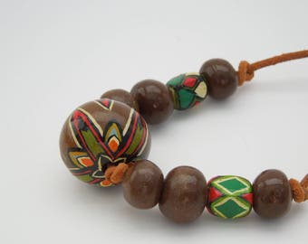 Necklace Tribal wooden bead
