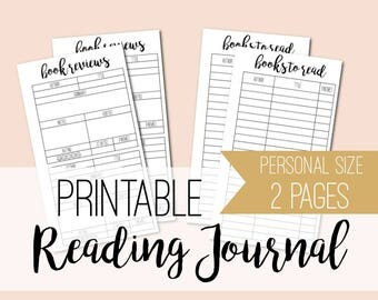 Personal size printable reading journal - book tracker - planner inserts - book planner - book review - reading log - INSTANT DOWNLOAD