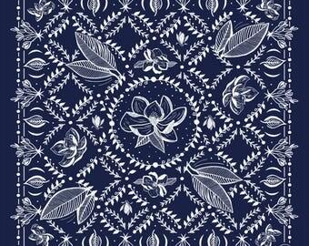 Southern Magnolia Bandana in Navy // floral screenprint silkscreen handkerchief