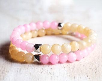 CANDY 2 - Mala bracelet in Jades, elastic strap handmade.