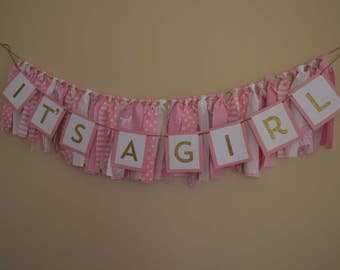 It's A Girl Banner, Fabric Banner, Pink, Baby Shower