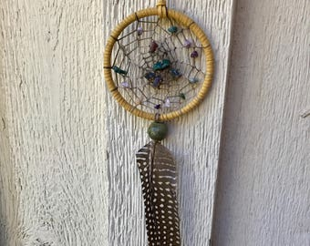 Beige Stone with Brown Feather Native American Inspired Dreamcatcher