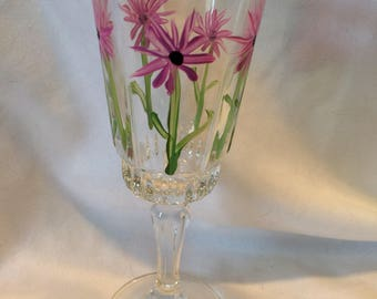 Yellow & Pink Flowered Cordial Glasses