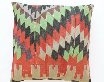 "Kilim rug pillow cover 26""x26"" (65x65cm) 006"