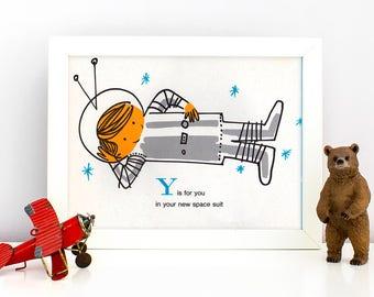 1960's Children's Alphabet Illustration Print - Y is for You