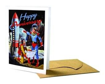 Man and Woman Astronauts Anniversary Greeting Card