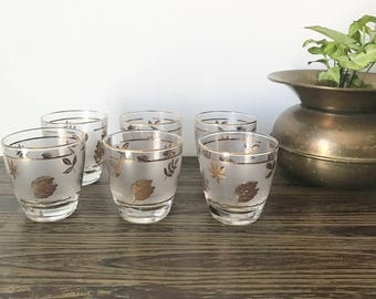 Vintage Libbey Gold Leaf Frosted Glasses -Mid Century Low Ball Glasses -Set of 6