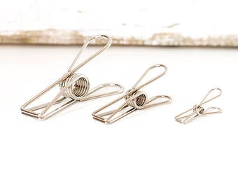 2pcs Vintage Silver Fishtail Clip / Binder Clip / 3 Size to Choose from